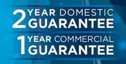 2 year domestic warranty and a 1 year commercial warranty