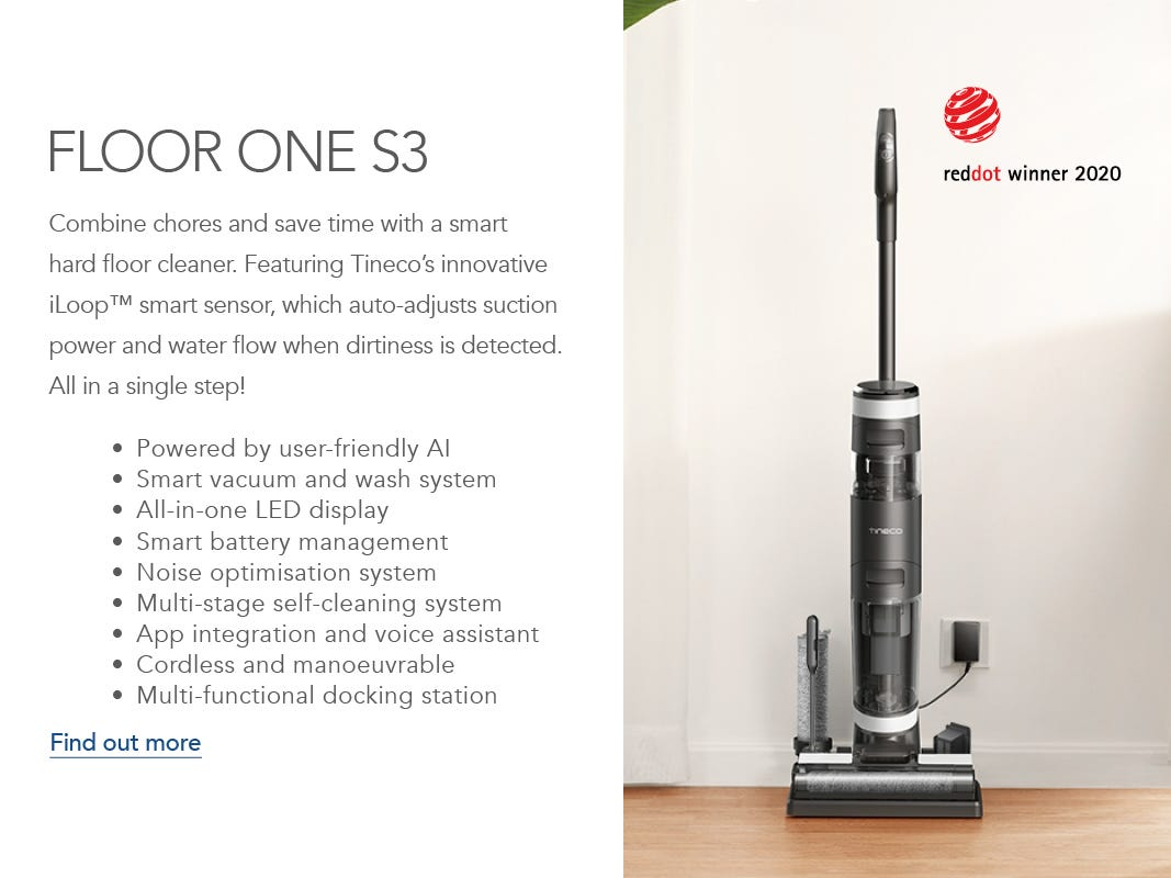Godfreys exclusive Tineco FLOOR ONE S3 Stick Vacuum charging in a living room