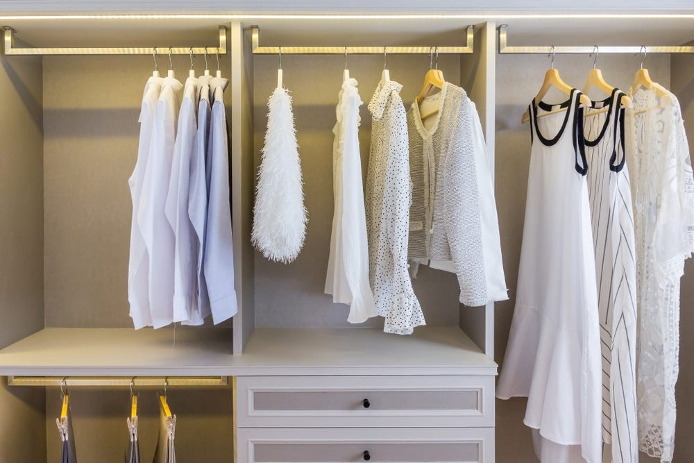 Garments hanging in a closet