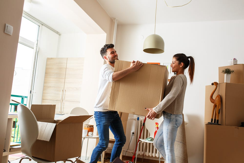 Couple moving house together